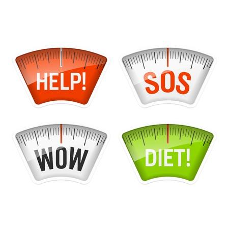 verlies: Weegschaal weergeven van Help, SOS, Wow en Dieet berichten Stock Illustratie