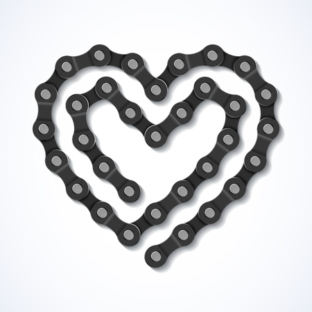 true love: Bicycle chain heart Illustration