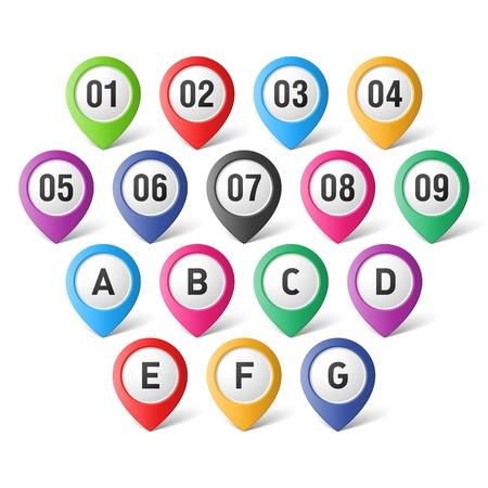 speld: Set van kaartwijzers met cijfers en letters Stock Illustratie