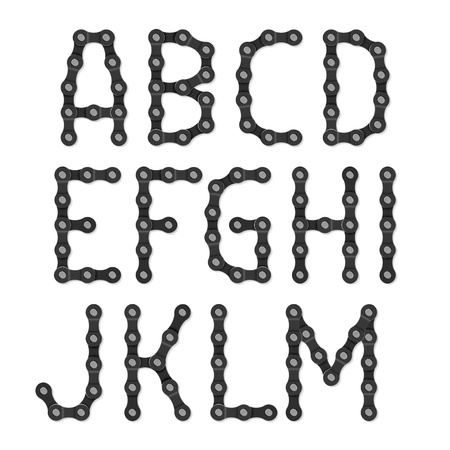 Bicycle chain alphabet A-M Vector