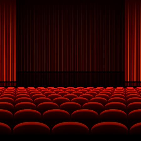 빨간 커튼 및 석 극장 인테리어