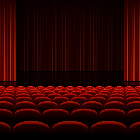 Theater interior with red curtains and seats Ilustração