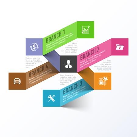 jerarquia: Resumen de negocios ramas infografía plantilla