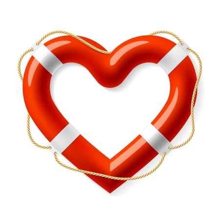 life support: Life buoy in the shape of heart Illustration