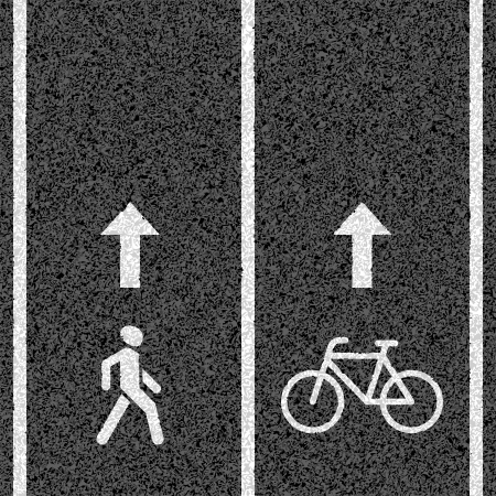 road marking: Bicycle and pedestrian paths Illustration