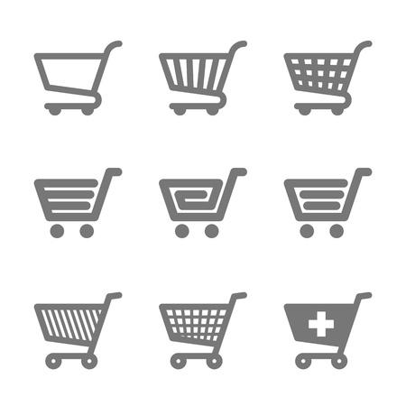 hand cart: Los iconos de la cesta de compra