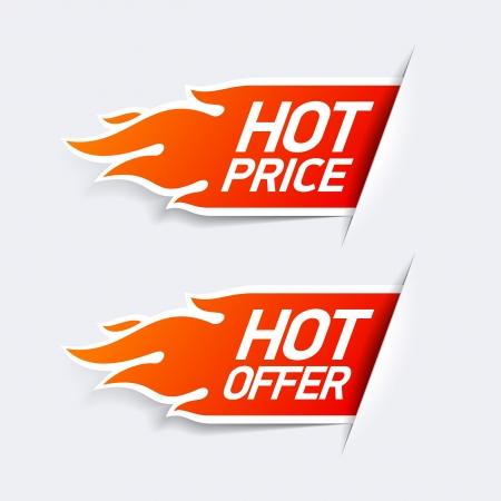 caliente: Símbolos oferta Precio caliente caliente y Vectores