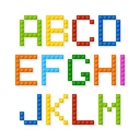 pixels: Plastic construction blocks alphabet