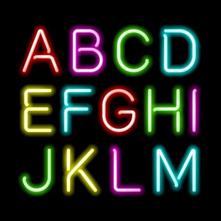 carta: Alfabeto resplandor de neón