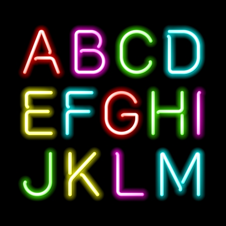 alphabetical letters: Neon glow alphabet Illustration