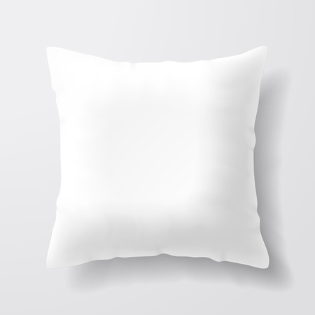 isolado no branco: Em branco travesseiro quadrado branco Ilustração