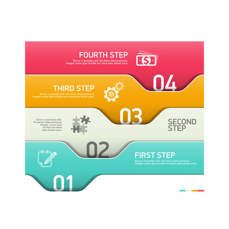consecutive: Infographics steps design template Illustration