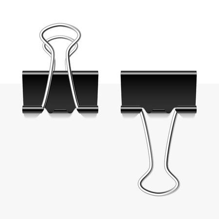 binder: Black metal binder clips Illustration