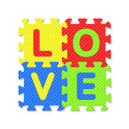 jig saw puzzle: Word LOVE written with alphabet puzzle letters