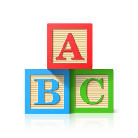 juguete: Cubos de madera del alfabeto con A, B, C letras