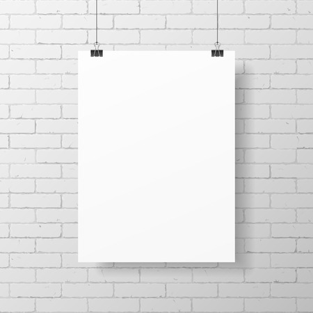 Blank white poster on brick wall Illustration