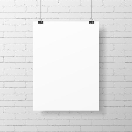 brick wall: Blank white poster on brick wall Illustration