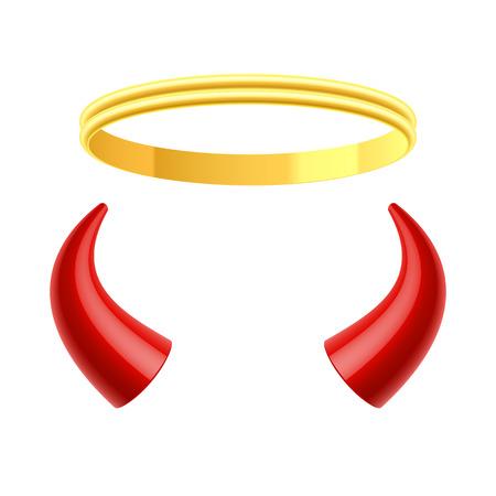 diable rouge: Les anges aur�ole et des cornes de diables