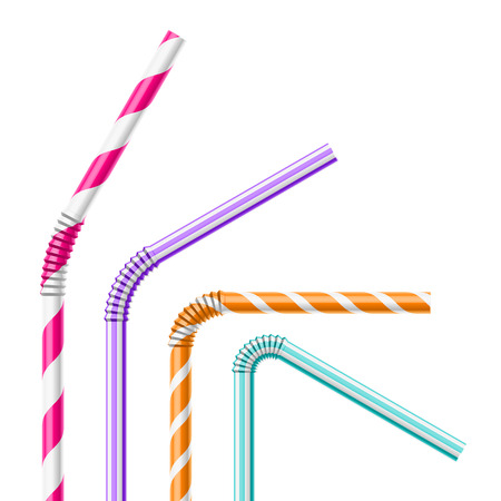 plastic straw: Colorful drinking straws Illustration
