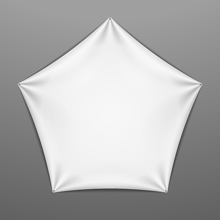 stretched: White stretched pentagonal shape with folds