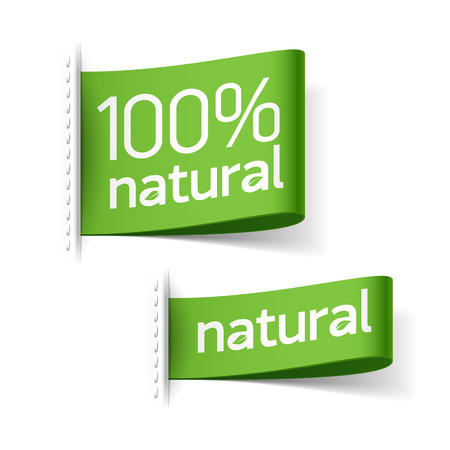 etiquetas redondas: Etiquetas de los productos naturales Vectores