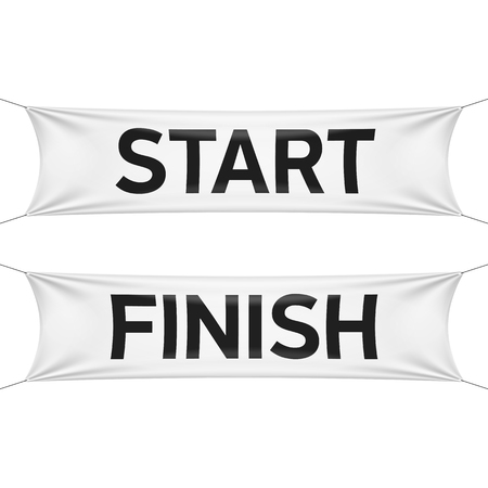 starting a business: Starting and finishing lines banners Illustration
