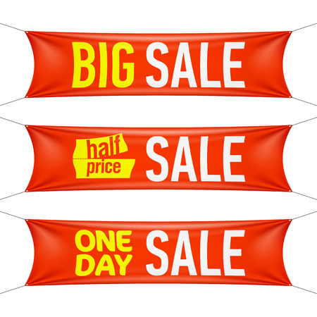 Big, half price and one day sale banners Vector