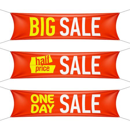 spruchband: Big, zum halben Preis, und eines Tages Verkauf-Banner Illustration