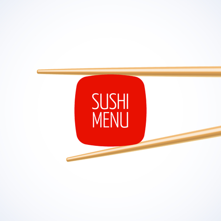 healthy foods: Sushi menu cover template Illustration