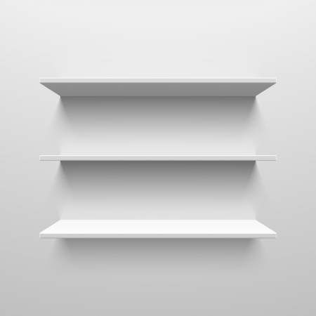 Three white shelves Vector