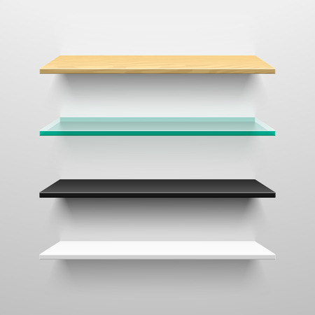 Wooden, glass, black and white shelves Vector