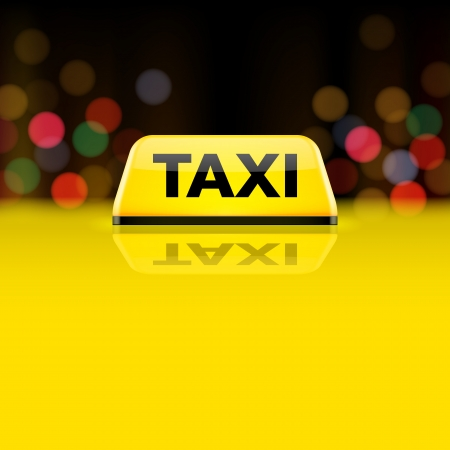 taxi cab: Yellow taxi car roof sign at night Illustration
