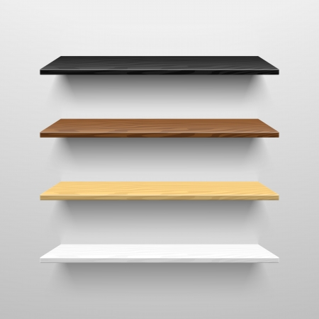 shelf: Wooden shelves