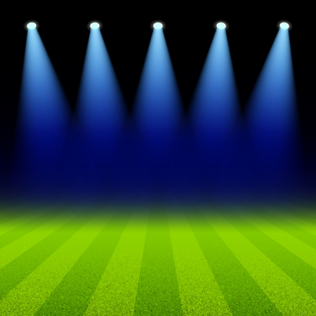 Bright spotlights illuminated green soccer field Vector