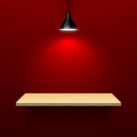 illuminated: Wooden shelf illuminated by lamp