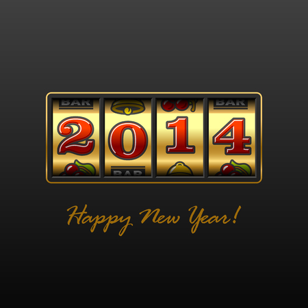 gambling counter: Happy New Year 2014 card Illustration