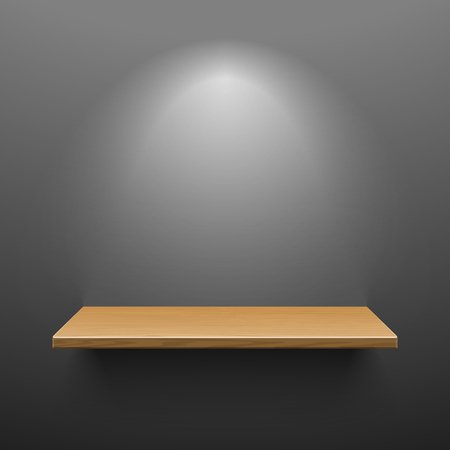 illuminated wall: Wooden shelf on dark wall