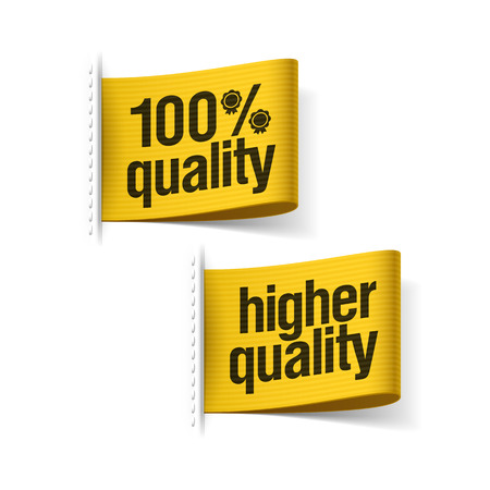 higher quality: Higher quality product labels Illustration