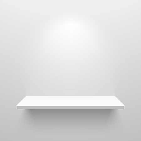 Empty white shelf for exhibit Vector