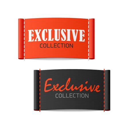 Etiquetas de la ropa de cobro exclusivo Ilustración de vector