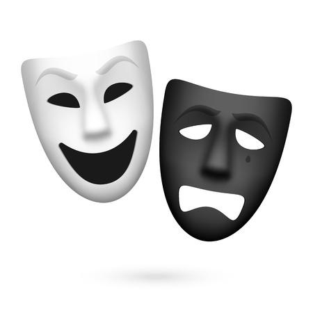 Komedie en tragedie theatrale maskers Stock Illustratie