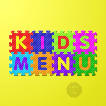 Kids Menu cover - alphabet puzzle Stock Vector - 24158412