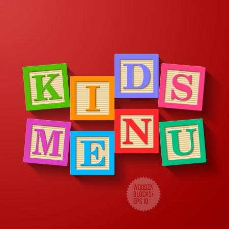 red cube: Bambini Menu cover - blocchi di legno