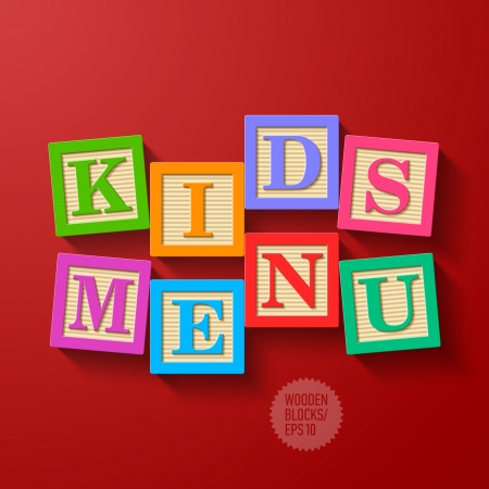 block letters: Kids Menu cover - wooden blocks Illustration