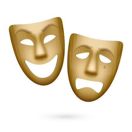 木製の喜劇と悲劇演劇のマスク  イラスト・ベクター素材