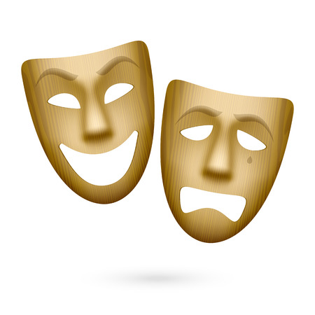 Wooden comedy and tragedy theatrical masks Illustration
