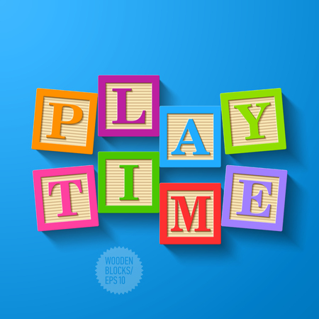 block letters: Play Time - wooden blocks Illustration
