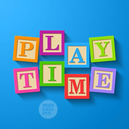 spell: Play Time - wooden blocks Illustration
