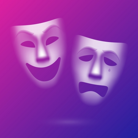 pantomime: Comedy and tragedy theatrical masks Illustration