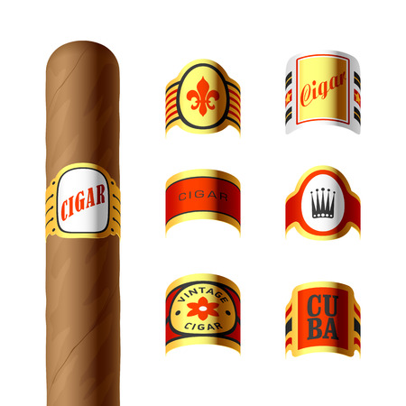 havana cigar: Cigar labels Illustration